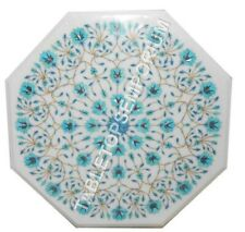 """15"""" White Marble Octagon Coffee Table Top Turquoise Inlay Furniture Decor E622"""