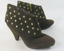 """new ladies Brown 3.5""""High Heel Pointy Toe Gold Stud Sexy Ankle Boots Size 9"""