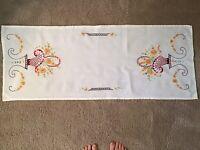 """Vintage Table Runner Embroidered Floral Basket 39 X 15 1/2"""""""
