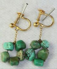 VINTAGE ANTIQUE 9CT GOLD CHINESE CARVED TURQUOISE NUGGET SCREW EARRINGS