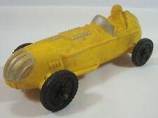 Vintage Auburn Rubber Toy Yellow IndyCar Race Car Indiana #536
