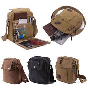 Men's Black/Brown/Khaki Messenger Bag Canvas Cross Body Shoulder Handbag Travel