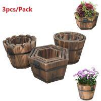 3pcs/set Barrel Planter Pots Wooden Flower Pot Outdoor Patio Garden Decoration