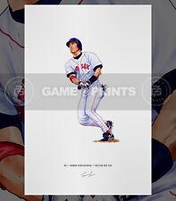 Nomar Garciaparra Boston Red Sox Baseball Illustrated Print Poster Art