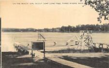 ON THE BEACH GIRL SCOUT CAMP LONE TREE THREE RIVERS MICHIGAN POSTCARD