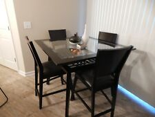 Chocolate Wood Counter-Height Glass Base Dining Table w/ 4 Chairs