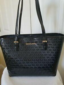 $248 Michael Kors Jet Set Travel Med Caryall  Leather Tote Bag Purse Handbag