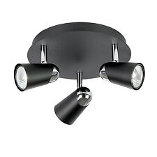 Endon Civic ceiling spotlight round 3x 50W Matt black & chrome effect plate