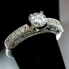 New 14K White Gold Round Cut Diamond Solitaire Filigree Ring - Size 7