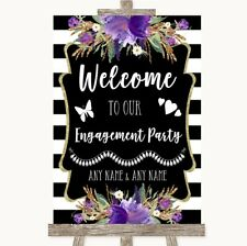Wedding Sign Black & White Stripes Purple Welcome To Our Engagement Party