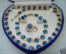 18k Yellow Gold GP Blue Stone Sapphire Set Necklace Bracelet Earrings Ring+box