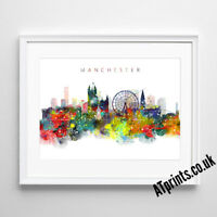MANCHESTER SKYLINE MAP Print Poster Watercolour Framed Canvas Wall Art Gift CITY
