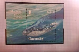 GUERNSY WHALE 3  M/SHEET MUH BLUE WHALE ENDANGERED SPECIES