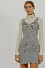 Topshop Gingham Houndstooth Check & Floral Embroidered Pinafore Dress - Size 8