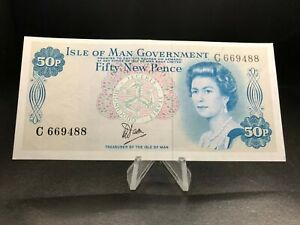 1979 Isle of Man Government 50 New Pence Banknote Uncirculated But Folded