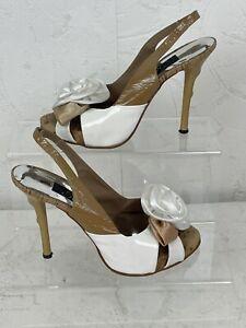 Solidea Slingback Stiletto Women's Shoes UK2 EU35 Tan & White Italian Heels N679