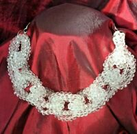 Multi-Strand Faceted Crystal Bead Large Link Loop Statement Collar Necklace