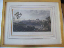 Framed Print behind glass of S.E. View of Chester Etching Lithography Antique
