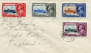 1935 Silver Jubilee  Leewards Islands set on cover to England