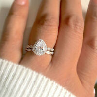 2Pcs Elegant Women Drop Pear Ring Set Zircon Cubic Party Bridal Jewelry Latest