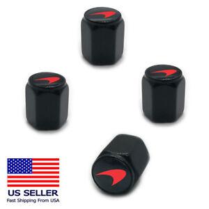 4PC LOGO Aluminum Alloy Wheel Tire Valve Air Cover Stem Caps For Mclaren Black