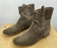 FRYE & CO Sarah Shortie Booties Size US 9.5 Suede Leather Tan Gray Ankle Boots