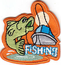 """""""FISHING"""" -PATCH w/FISH & BOAT-Iron On Embroidered Applique/Words,Fishing,Sport"""
