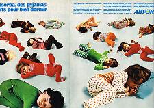 PUBLICITE ADVERTISING 104  1972  ABSORBA  pyjamas enfants ( 2p)