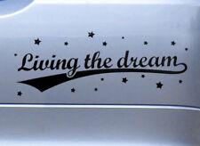 LIVING THE DREAM funny vinyl car bumper window caravan camper van sticker decal