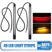 Motorcycle Flexible 48 LED Light Strip Rear Tail Brake Stop Turn Signal Lamp Bar
