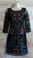 Monsoon Black Lace Embellished Floral Embroidered Party Shift Dress 8 10