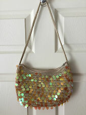THE SAK CROCHET SEQUIN PURSE/ TAUPE, YELLOW, GOLD / NWOT /  BOHEMIAN CHIC / RARE