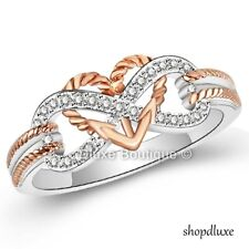 925 Sterling Silver Rose Gold Plated Infinity Knot Heart Promise Ring Size 5-10
