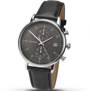 Sekonda Midnight Black Dial Chronograph Black Strap Gents Watch 1193
