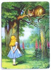 SWAP CARD. ALICE IN WONDERLAND & CHESHIRE CAT FOREST SCENE. MODERN. WIDE. MINT