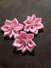 10 X Light Pink Satin Flowers with Diamante Centre- Australian Supplier