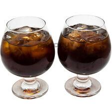 Set of 2 Large Brandy Glasses 390ml Stemmed Cognac Clear Glass Retro Balloon