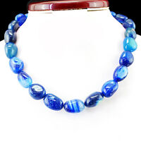 FINEST RARE 642.00 CTS NATURAL RICH BLUE BLACK ONYX UNTREATED BEADS NECKLACE