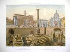 Veduta di Roma, Foro Romano, 1870 - Stampa dipinta a mano cm. 56x38