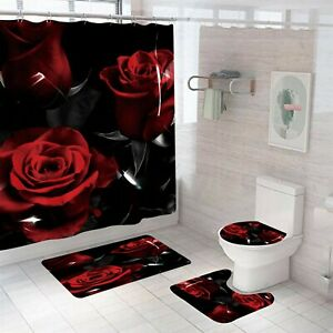 Rose Shower Curtain Thick Bathroom Rug Set Bath Mat Non-Slip Toilet Lid Cover