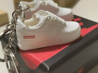 Hypebeast Supreme Air Force One Low mini sneaker keychain (Pair with Box).