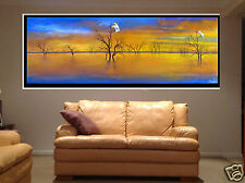 Cockatoo Birds Outback Landscape Australia Lake Sunset art painting aboriginal