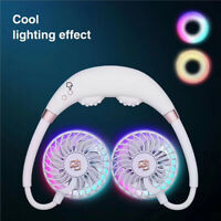 AU_ Portable USB Rechargeable Neckband Neck Hanging LED Cooling Fan Cooler Healt