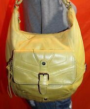 L.A.M.B. Med Lrg Chartreuse Leather Shoulder Hobo Tote Satchel Slouch Purse Bag
