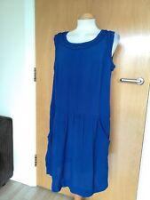 Ladies MONSOON Dress Size 14 Blue Tunic Pockets Smart Party