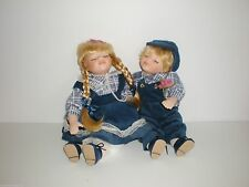 Twin Boy n Girl Sitting Porcelain Soft Body Dolls By T.S. Creations Blonde Hair