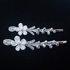Bobby Pin Rhinestone Crystal Hair Clip Hairpin Flower Wedding Silver White 702