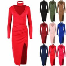V-Neck Dresses for Women with Ruched Bodycon Dress