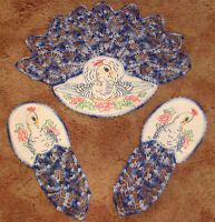 GORGEOUS Three Piece Embroidered and Crocheted Peacock Chair Cover Set