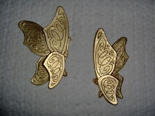 Pair Vintage Home Interior 1973 Butterfly Wall Plaques /Picture Accent